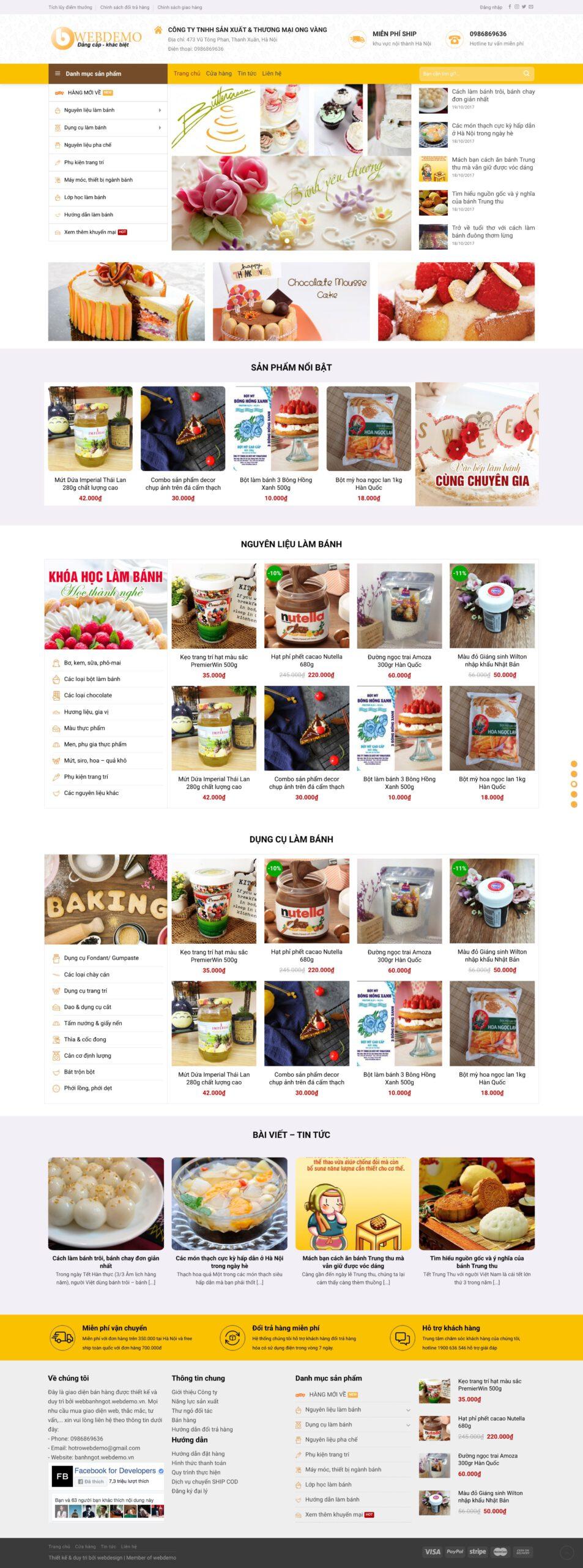 Thiết kế website Bánh ngọt