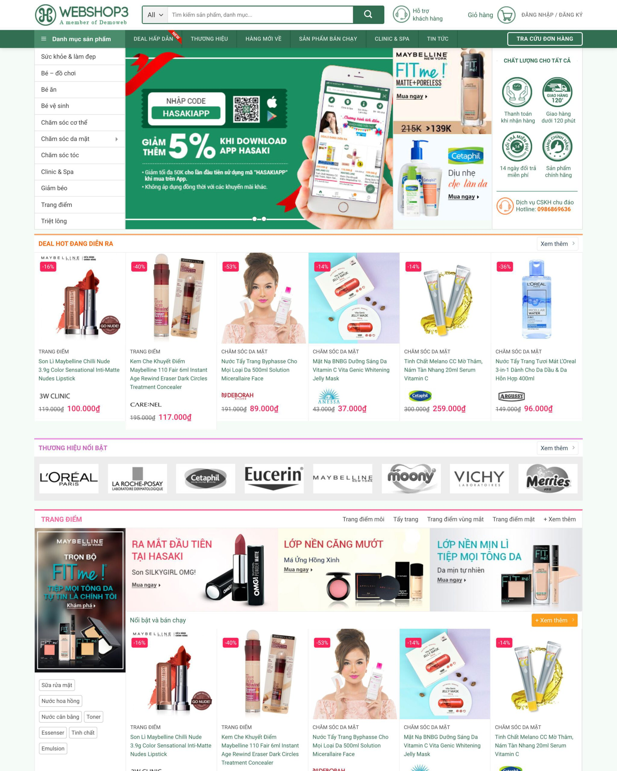Website shop mỹ phẩm
