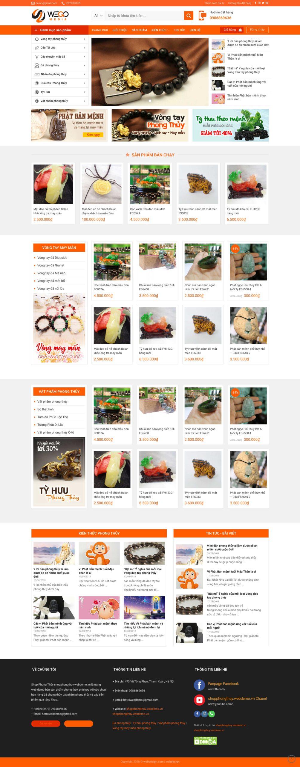Thiết kế website Bán hàng phong thuỷ