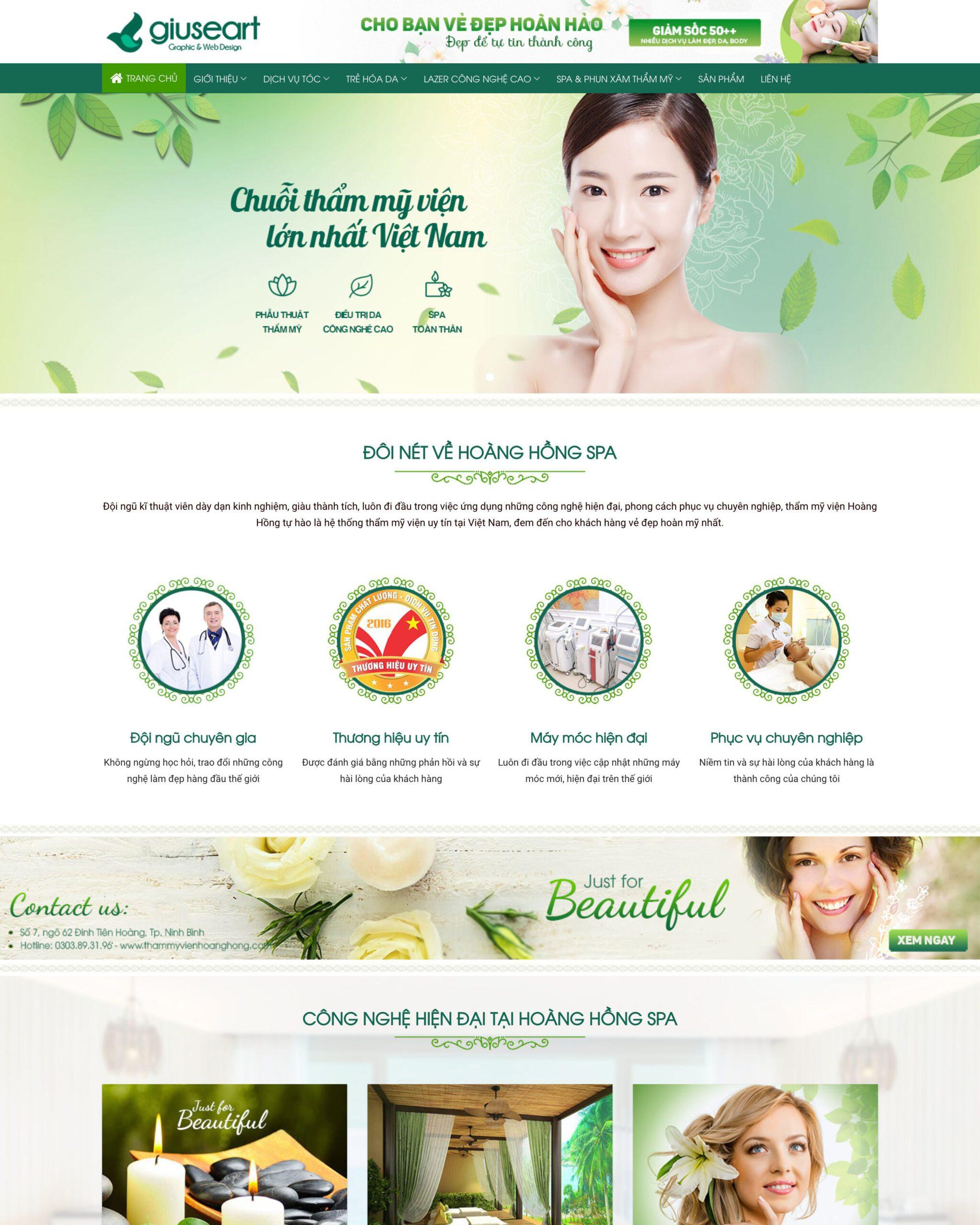 Thiết kế website Spa (mẫu 2)