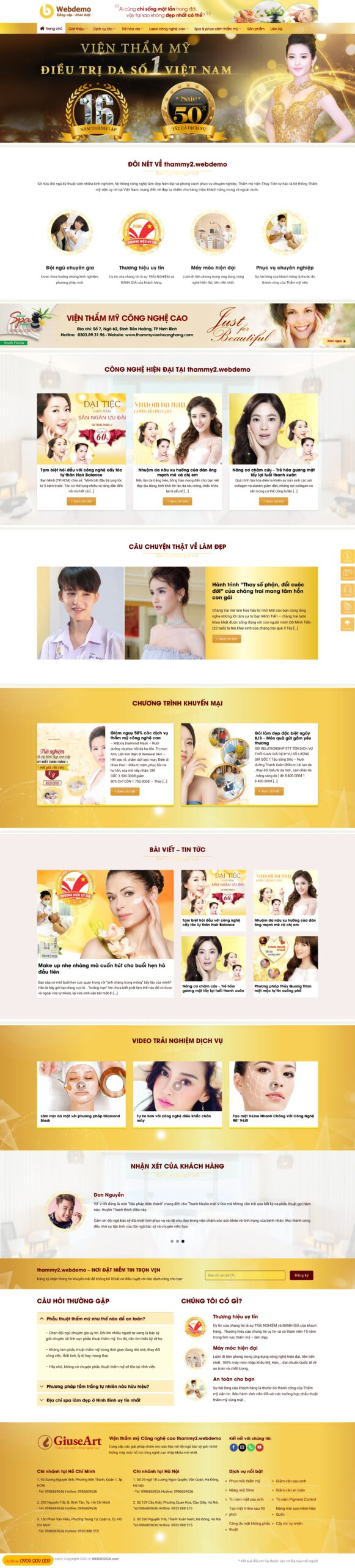 Thiết kế web cho Spa (mẫu 2)
