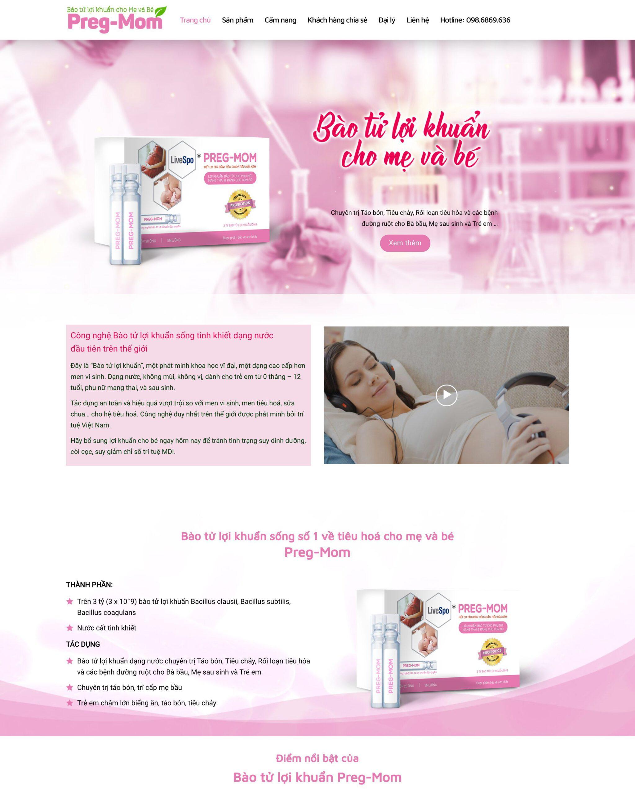 Thiết kế website Thực phẩm chức năng Mẹ và Bé