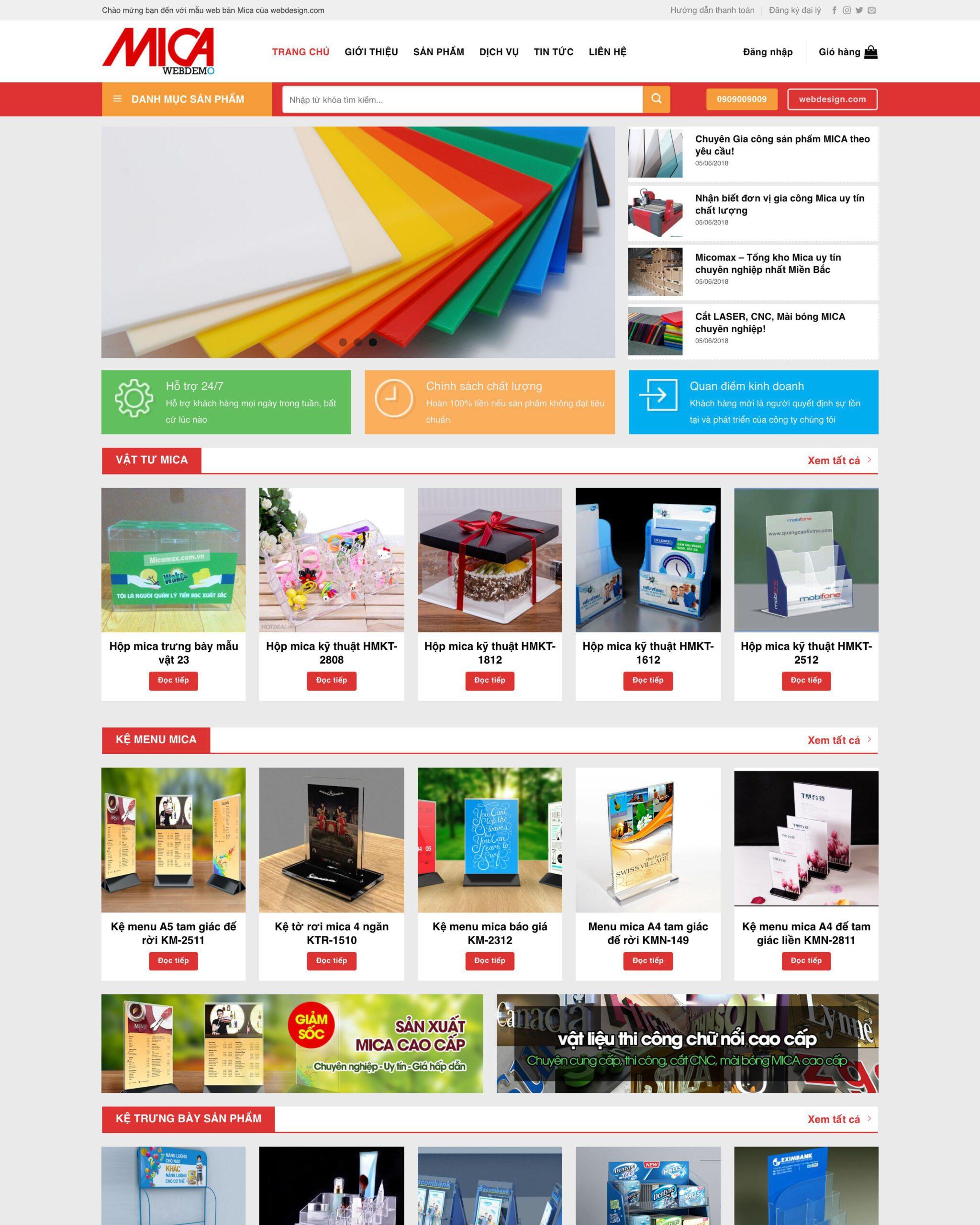 Website vật liệu nhựa Mica